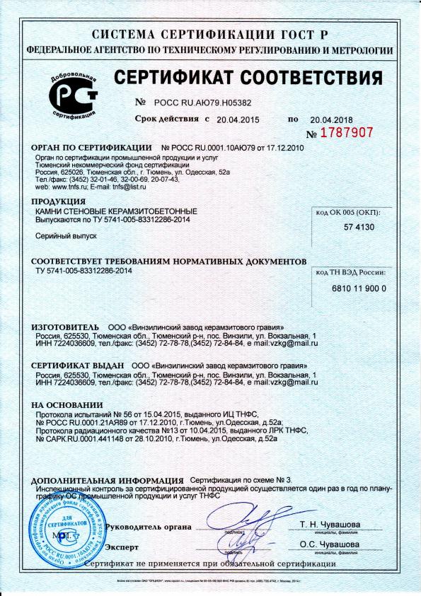 Керамзитобетон сертификат куплю бетон в новороссийске